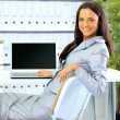 Business woman showing blank display — Stock Photo #5207360