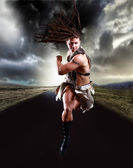 A viking is running on the road — Stock Photo