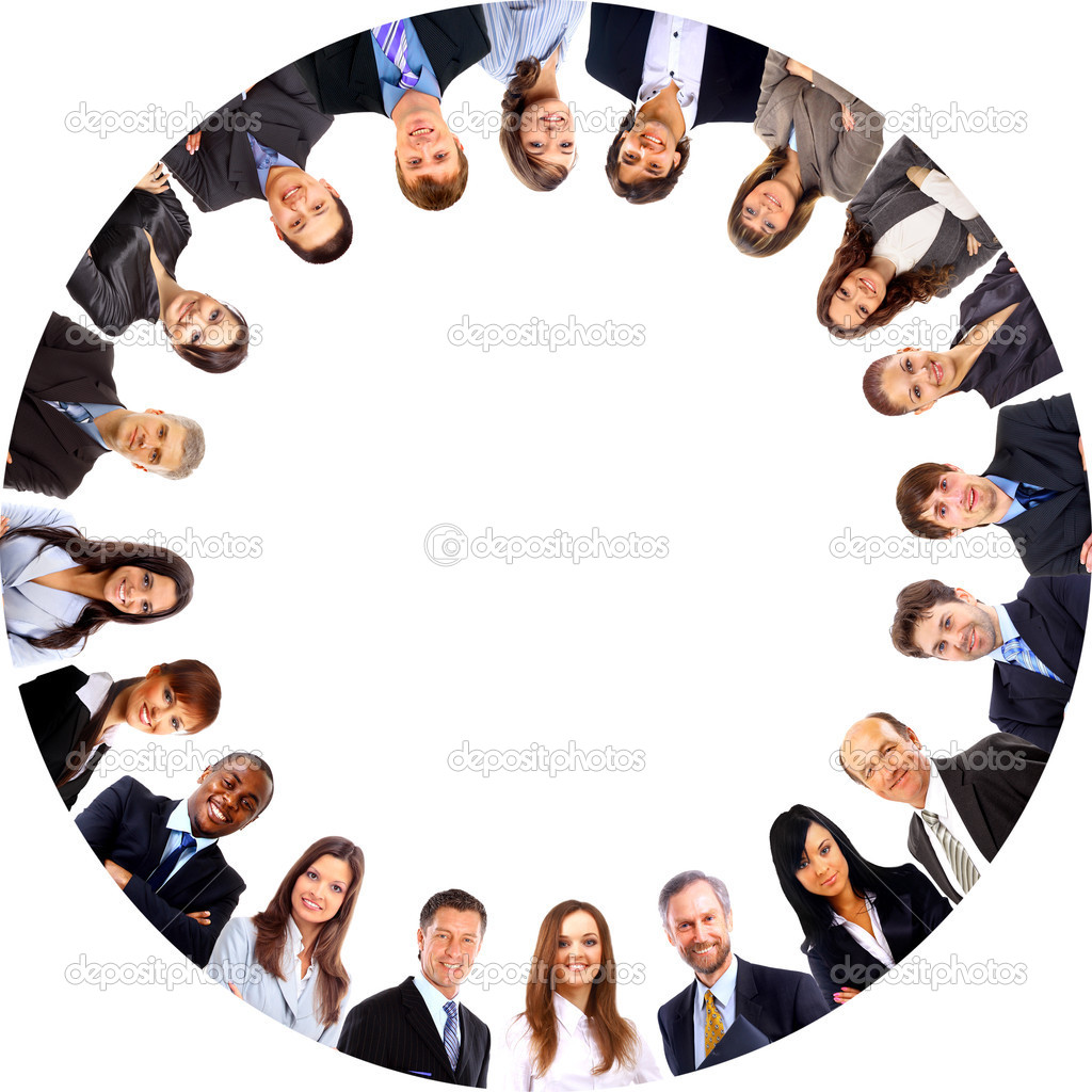 Group of business standing in huddle, smiling, low angle view — Stock Photo #5207145