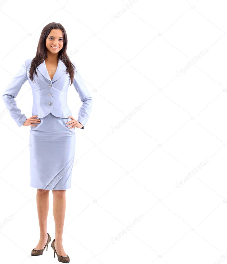 Isolated full-body portrait of a beautiful business woman — Stock Photo #5207276