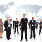 obchodní tým s mapou světa — Stock fotografie
