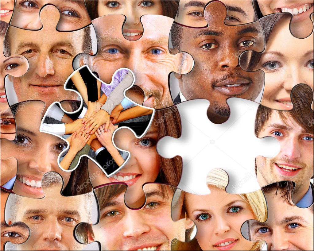 Abstract puzzle background with one piece missing  — Stock Photo #5261621