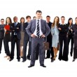 Businessman and team — Stock Photo