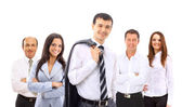 Business man and his team isolated over a white background — Foto Stock