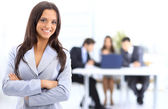 Portrait of successful businesswoman and business team at office meeting — Stok fotoğraf