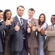 Stock Photo: Excited group of business -isolated