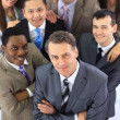 Top view of business with their hands together — Stock Photo