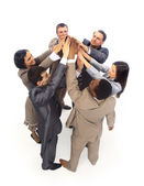 Unity - Top view of business with their hands together in a circle — Stock Photo