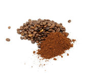 Coffee Beans And Ground Coffee — Stockfoto