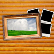 Picture in Vintage Frame with Blank Photos on Wood Background — Foto Stock