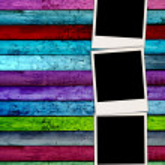 Three Blank Photos on Wood Background — Stock Photo