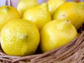 Limões na cesta — Foto Stock
