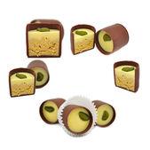Set of Chocolate Sweets Isolated on White Background — Stock Photo