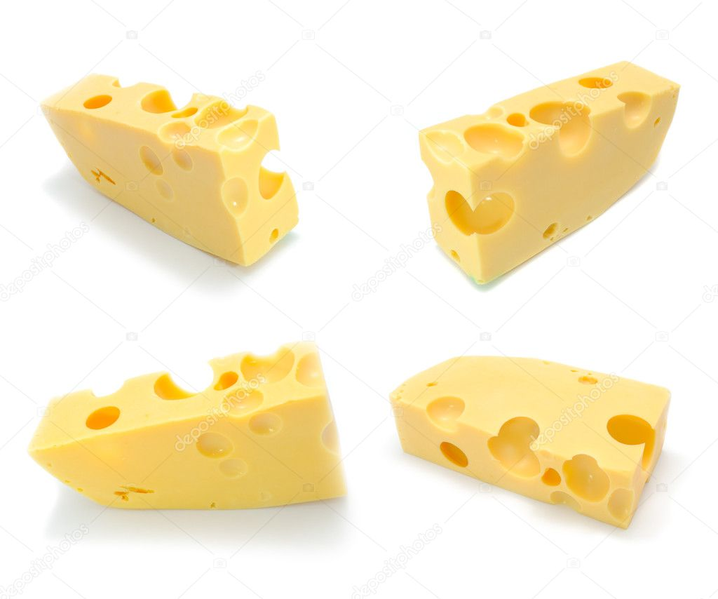 A set of four chunks of Swiss cheese isolated on a white background — Stock Photo #4699912