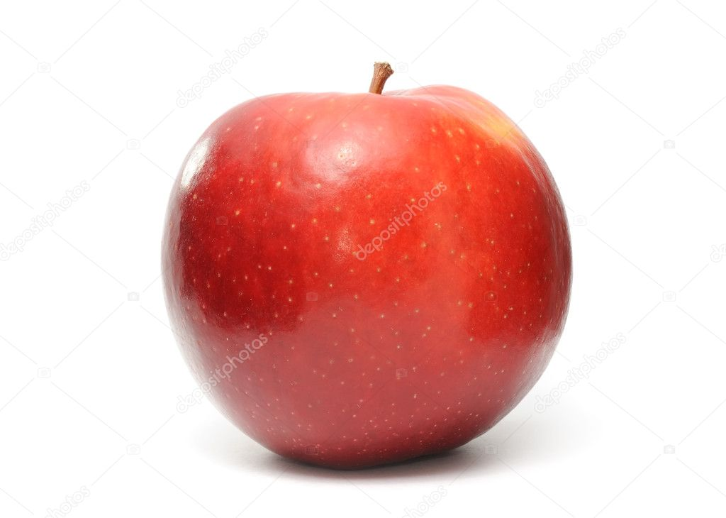 A shiny red apple isolated on a white background — Stock Photo #4757100