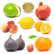Fresh Fruit Set Isolated on White Background — Stock Photo