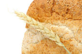 Bran Bread with Ear of Wheat — Stock Photo