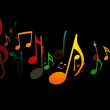 Dancing Music Notes on Black Background — Stock Photo #5267523