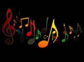 Dancing Music Notes on Black Background — Stock Photo