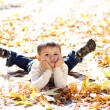 Child lying on the golden leaf — Stock Photo #4084046