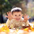 Child lying on the golden leaf — Stock Photo #4084770