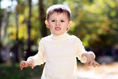 Closeup portrait of beautiful little boy — Stock Photo