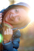 Closeup portrait of a happy young woman smiling — Foto Stock
