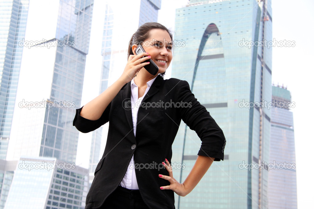 business woman on the phone at modern building  — Stock Photo #4493543