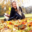Woman sitting on a carpet of leaves in autumn park - Stock Photo