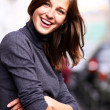 Closeup portrait of a happy young woman — Stock Photo