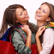 Twins sisters holding shopping bags on white isolated — ストック写真