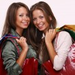 Twins sisters holding shopping bags on white isolated - Stockfoto