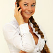 Nice caucasian girl with mobile phone — Stock Photo