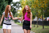 Portrait of girls with beautiful red hair — Stock Photo