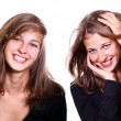 Collage - two happy young woman — Stock Photo