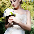 Beautiful caucasian bride outdoor — Stok fotoğraf