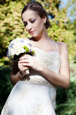 Beautiful caucasian bride outdoor — Stock Photo