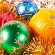 Christmas toy and tangerine — Foto Stock