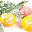 Tangerine and ball — Stock Photo