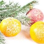 Tangerine and ball — Stock Photo