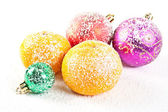 Snow-bound Christmas decorations — Stock Photo
