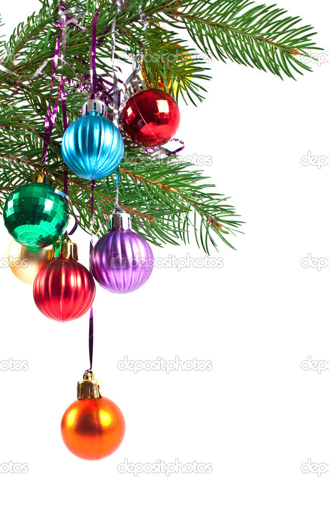 Christmas and new-year decorations. Fir tree branch with decoration on a white background — Stock Photo #4299491