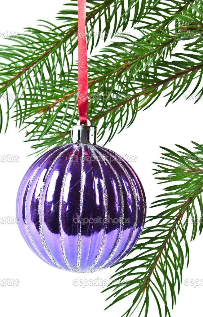 Christmas and new-year decorations. Fir tree branch with decoration on a white background — Stock Photo #4299951