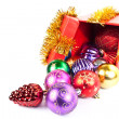 Gift box and christmas ball — Stock Photo