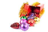 Gift box and christmas ball — Stock Photo