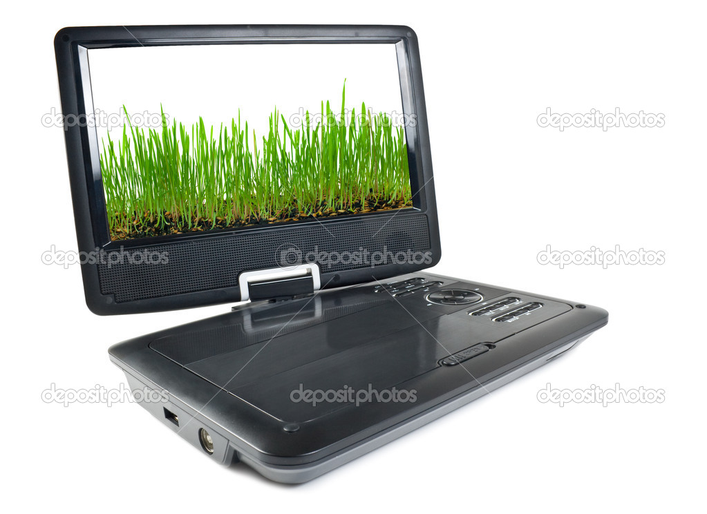 Portable dvd player and tv isolated on white background with to the images of grass on a monitor — Stock Photo #5031429