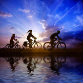 Family on bicycle — Stock Photo