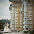 Portrait of newlyweds in in moscow estate — Stok fotoğraf