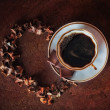 The cup of coffee with chocolate — Stock Photo