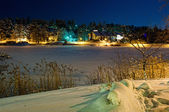 Finland town on frost gulf — Stock Photo